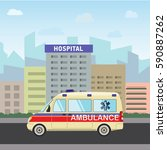 city hospital building with...   Shutterstock .eps vector #590887262