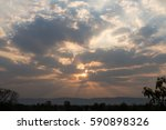 cloudy sky and trees with sun...   Shutterstock . vector #590898326