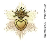 sacred heart of jesus with rays.... | Shutterstock .eps vector #590899862