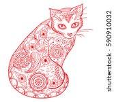 cat. design zentangle. hand... | Shutterstock .eps vector #590910032