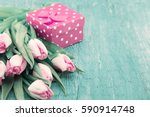 Bouquet Of Tulips And Gift Box...