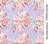 seamless floral pattern with... | Shutterstock .eps vector #590915246