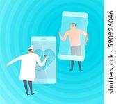 doctor exams patient's...   Shutterstock .eps vector #590926046