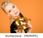 woman with bouquet of flowers   Shutterstock . vector #59094991