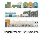 warehouse logistic buildings... | Shutterstock .eps vector #590956196