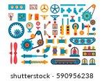 machine parts gears different... | Shutterstock .eps vector #590956238
