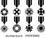 Vector Set Of Black War Medals  ...