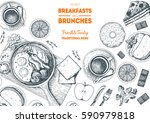 breakfasts and brunches top... | Shutterstock .eps vector #590979818