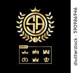 initial letter sa circle shape... | Shutterstock .eps vector #590986946