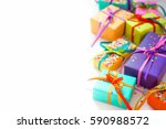 colored gift boxes with... | Shutterstock . vector #590988572