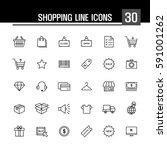 shopping line icons | Shutterstock .eps vector #591001262