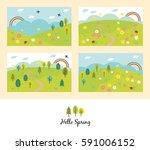 card design set of spring fields | Shutterstock .eps vector #591006152