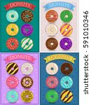 vintage cards with colorful... | Shutterstock . vector #591010346