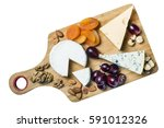 assorted cheeses  nuts and... | Shutterstock . vector #591012326