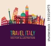 italy detailed skyline. vector... | Shutterstock .eps vector #591014975