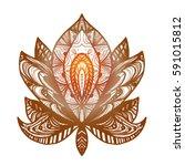flower lotus. magic symbol for... | Shutterstock .eps vector #591015812