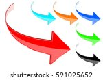 arrows. colored shiny icons. 3d ... | Shutterstock . vector #591025652