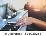 businessman working with laptop ... | Shutterstock . vector #591030266