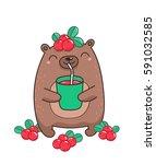 cute bear drinking berry juice... | Shutterstock .eps vector #591032585