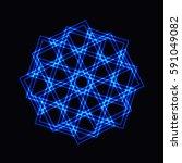 abstract blue neon shape ... | Shutterstock .eps vector #591049082