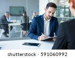 job interview  businessman... | Shutterstock . vector #591060992