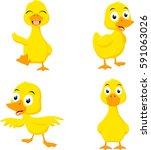 happy duck cartoon collection... | Shutterstock .eps vector #591063026