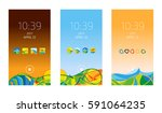 set of mobile interfaces ... | Shutterstock . vector #591064235