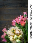 Golden Easter Eggs And Pink...
