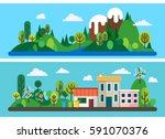 two horizontal banners in... | Shutterstock .eps vector #591070376