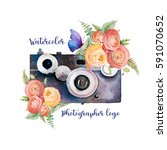 watercolor photographer logo.... | Shutterstock . vector #591070652