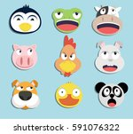 Stock vector set of animal faces 591076322
