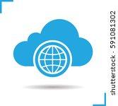 worldwide cloud storage icon....   Shutterstock .eps vector #591081302