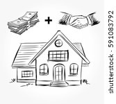 sketch of  house architecture.... | Shutterstock .eps vector #591083792