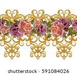 seamless pattern. golden... | Shutterstock . vector #591084026