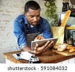 bread shop bake dough flour... | Shutterstock . vector #591084032