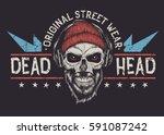 bearded skull with red eyes... | Shutterstock .eps vector #591087242