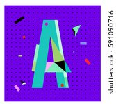 vector letter a memphis style... | Shutterstock .eps vector #591090716