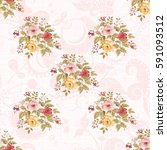 seamless floral pattern with... | Shutterstock .eps vector #591093512