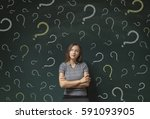 thinking business woman in... | Shutterstock . vector #591093905