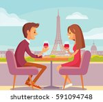 couple siting at parisian cafe | Shutterstock .eps vector #591094748