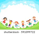 children are jumping on the... | Shutterstock . vector #591099722