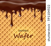 seamless wafer and dripping... | Shutterstock .eps vector #591104522