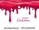 seamless dripping pink cream... | Shutterstock .eps vector #591104555