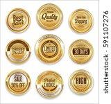 sale retro vintage golden... | Shutterstock .eps vector #591107276