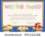writing award with classroom... | Shutterstock .eps vector #591122168