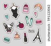 cute fashion patch badges set ... | Shutterstock .eps vector #591123062