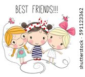 three cute cartoon girls on a... | Shutterstock . vector #591123362
