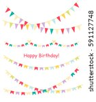colorful bunting and garland... | Shutterstock .eps vector #591127748