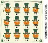 big set funny leprechaun and... | Shutterstock .eps vector #591129986