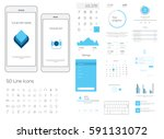 clean mobile web ui  ux  kit.... | Shutterstock .eps vector #591131072